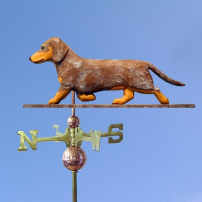 Dachshund Smooth Hand Carved Hand Painted Basswood Dog Weathervane Red Dapple 1