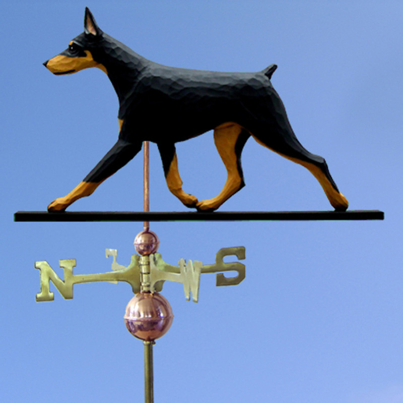 Doberman Hand Carved Hand Painted Basswood Dog Weathervane Black & Tan
