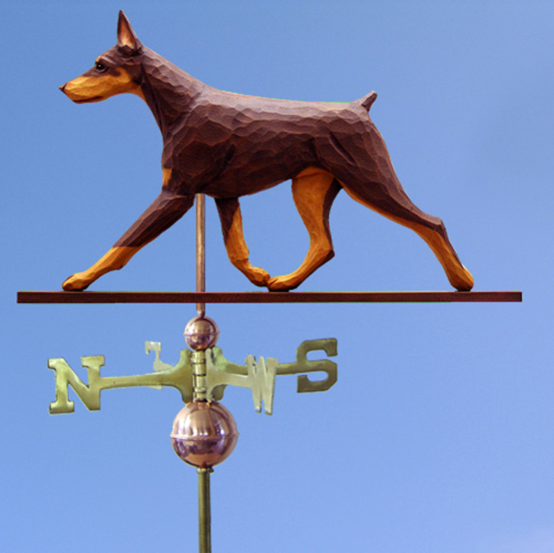 Doberman Hand Carved Hand Painted Basswood Dog Weathervane Red & Tan