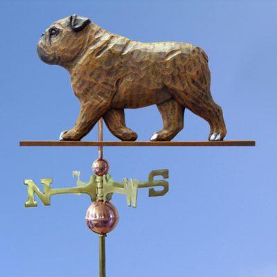 English Bulldog Hand Carved Hand Painted Basswood Dog Weathervane Brindle 1