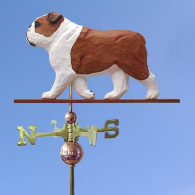 English Bulldog Hand Carved Hand Painted Basswood Dog Weathervane Red