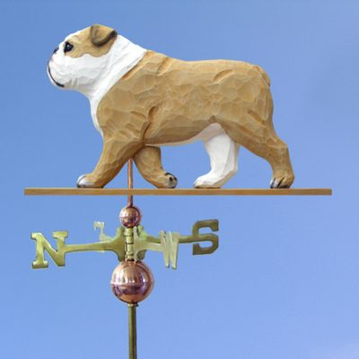 English Bulldog Hand Carved Hand Painted Basswood Dog Weathervane Tan 1
