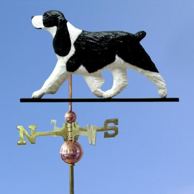 English Springer Spaniel Hand Carved Hand Painted Basswood Dog Weathervane Black