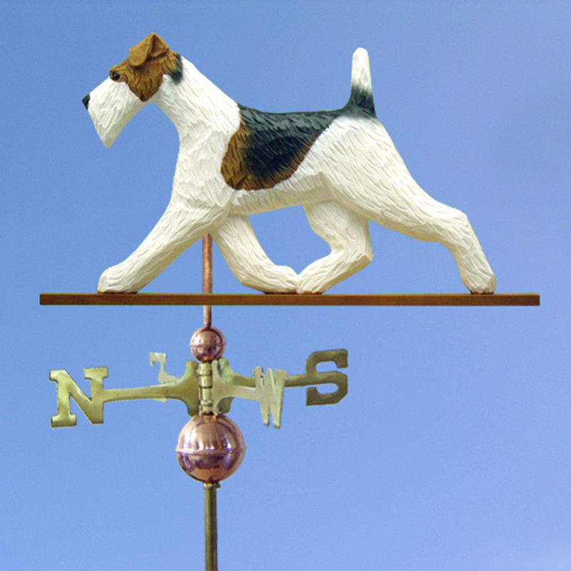 Wire Fox Terrier Hand Carved Hand Painted Basswood Dog Weathervane