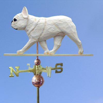 French Bulldog Hand Carved Hand Painted Basswood Dog Weathervane Cream 1