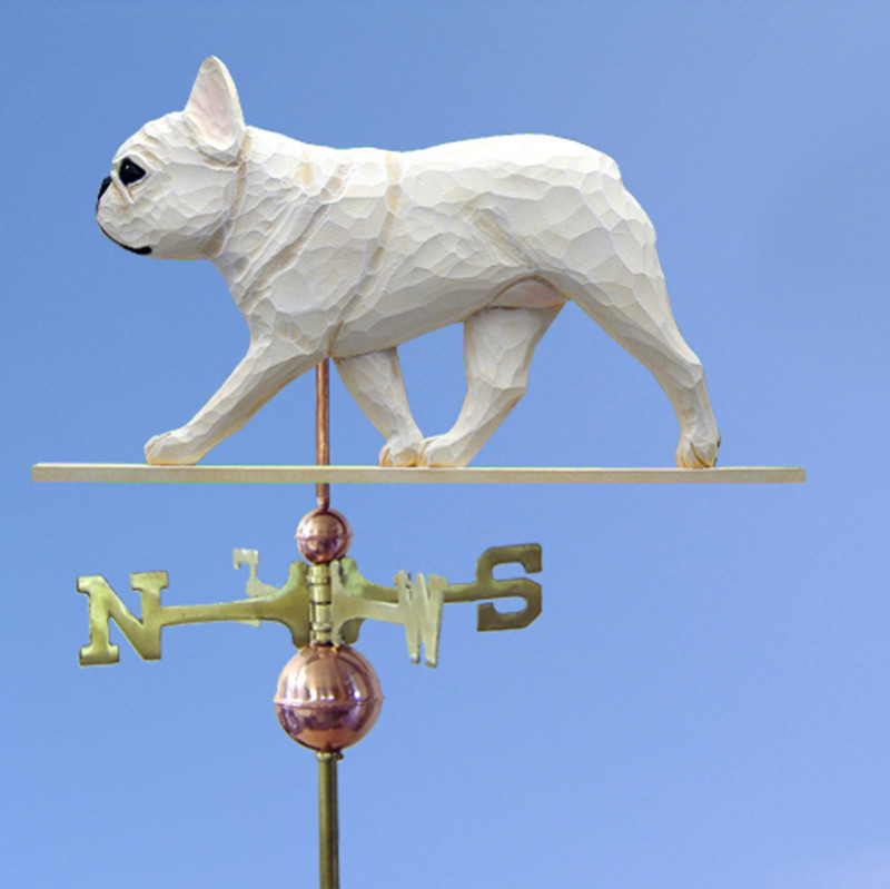 French Bulldog Hand Carved Hand Painted Basswood Dog Weathervane Cream