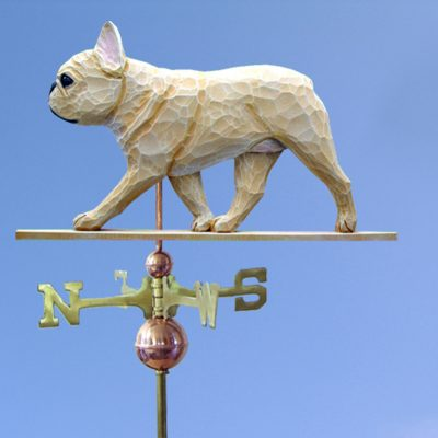 French Bulldog Hand Carved Hand Painted Basswood Dog Weathervane Fawn