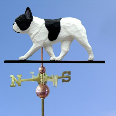 French Bulldog Hand Carved Hand Painted Basswood Dog Weathervane Pied 1