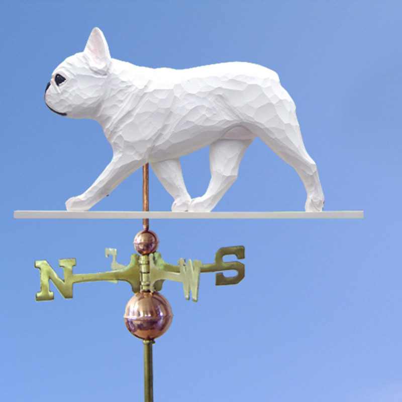 French Bulldog Hand Carved Hand Painted Basswood Dog Weathervane White