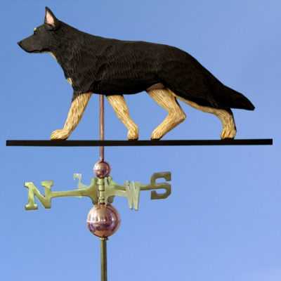 German Shepherd Hand Carved Hand Painted Basswood Dog Weathervane Black w/ Tan Points 1