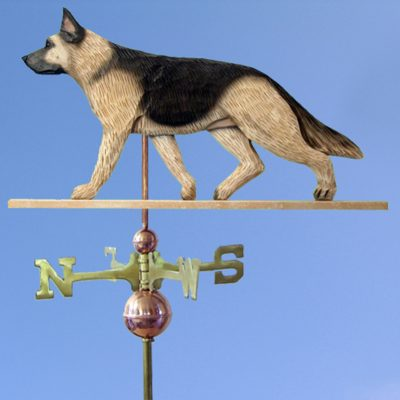 German Shepherd Hand Carved Hand Painted Basswood Dog Weathervane Tan w/ Black Saddle 1