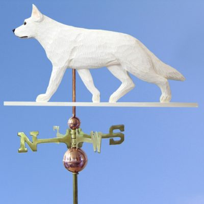 German Shepherd Hand Carved Hand Painted Basswood Dog Weathervane White 1