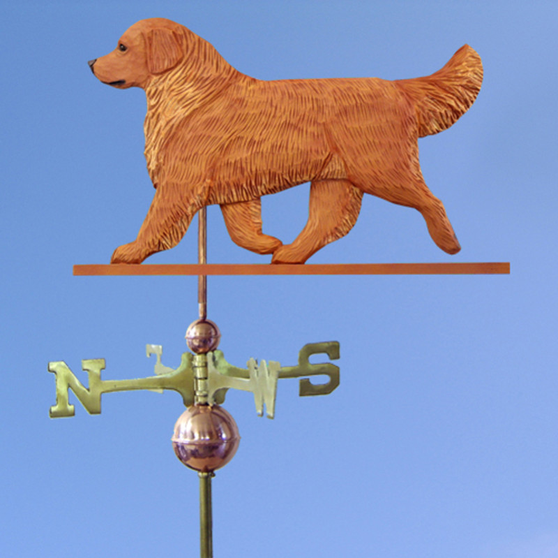 Golden Retriever Hand Carved Hand Painted Basswood Dog Weathervane Dark