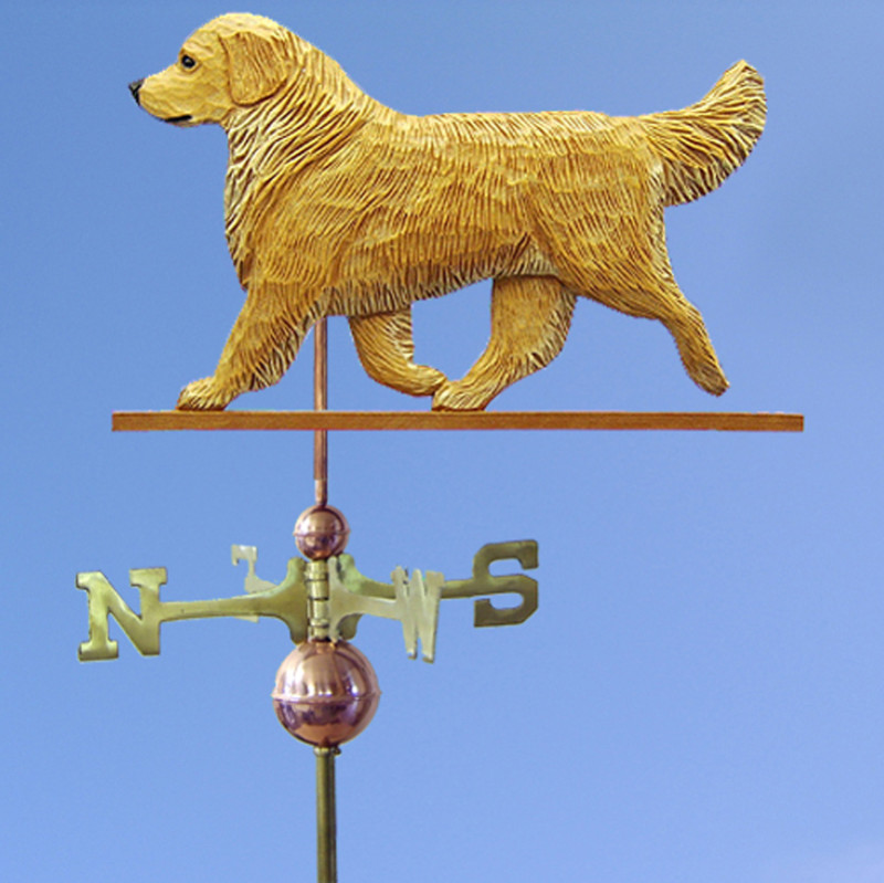 Golden Retriever Hand Carved Hand Painted Basswood Dog Weathervane Light