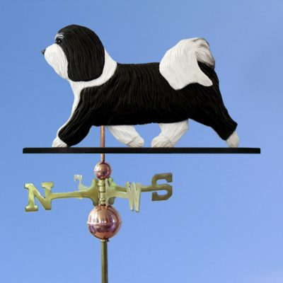 Havanese Hand Carved Hand Painted Basswood Dog Weathervane Black/White 1