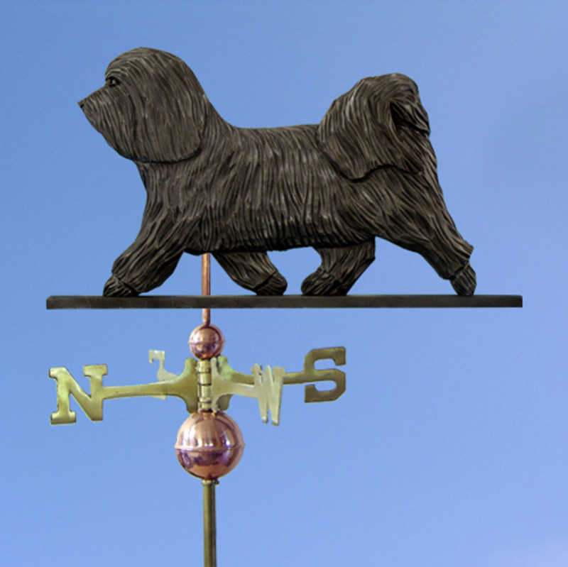 Havanese Hand Carved Hand Painted Basswood Dog Weathervane Dark Grey