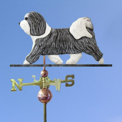 Havanese Hand Carved Hand Painted Basswood Dog Weathervane Grey/White