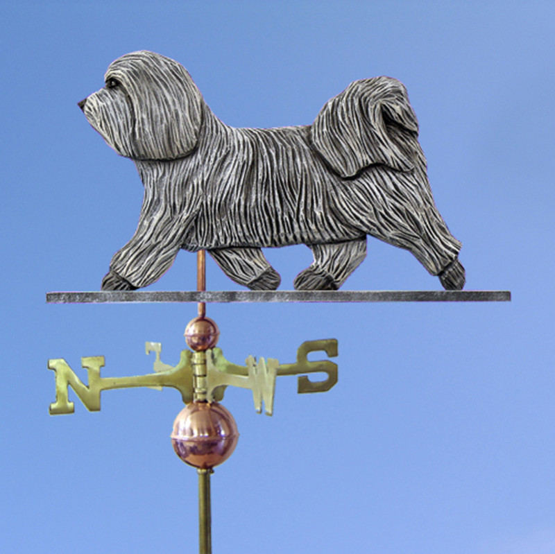Havanese Hand Carved Hand Painted Basswood Dog Weathervane Light Grey