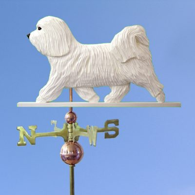Havanese Hand Carved Hand Painted Basswood Dog Weathervane White