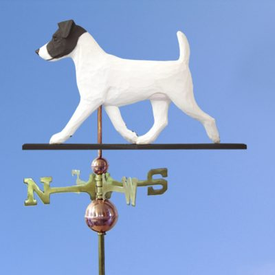 Jack Russell Terrier Hand Carved Hand Painted Basswood Dog Weathervane Black/White