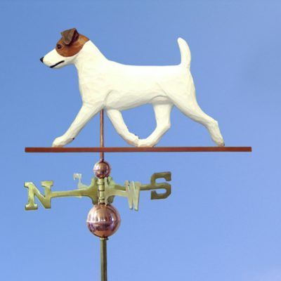 Jack Russell Terrier Hand Carved Hand Painted Basswood Dog Weathervane Brown/White 1