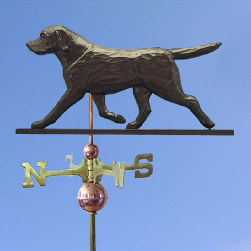Black Labrador Retriever Hand Carved Hand Painted Basswood Dog Weathervane