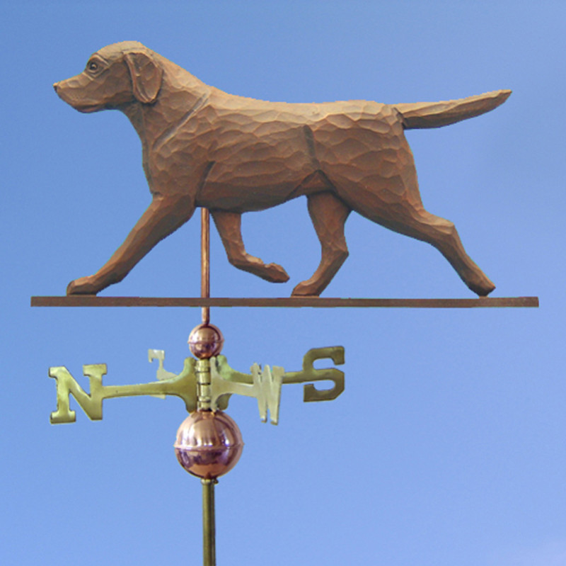 Chocolate Labrador Retriever Hand Carved Hand Painted Basswood Dog Weathervane