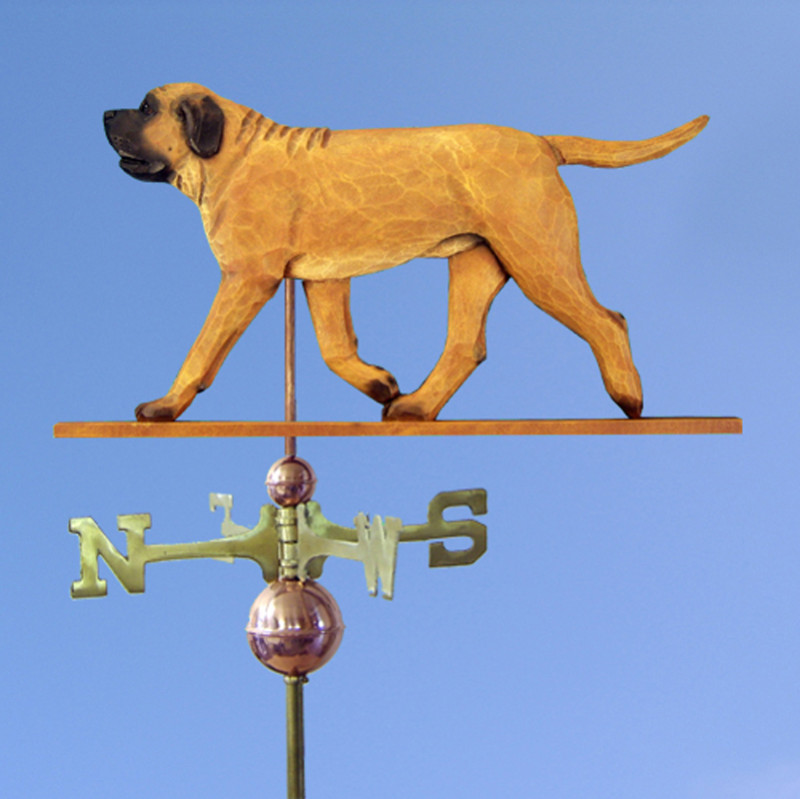 Mastiff Hand Carved Hand Painted Basswood Dog Weathervane Apricot