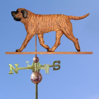 Mastiff Hand Carved Hand Painted Basswood Dog Weathervane Apricot Brindle 1