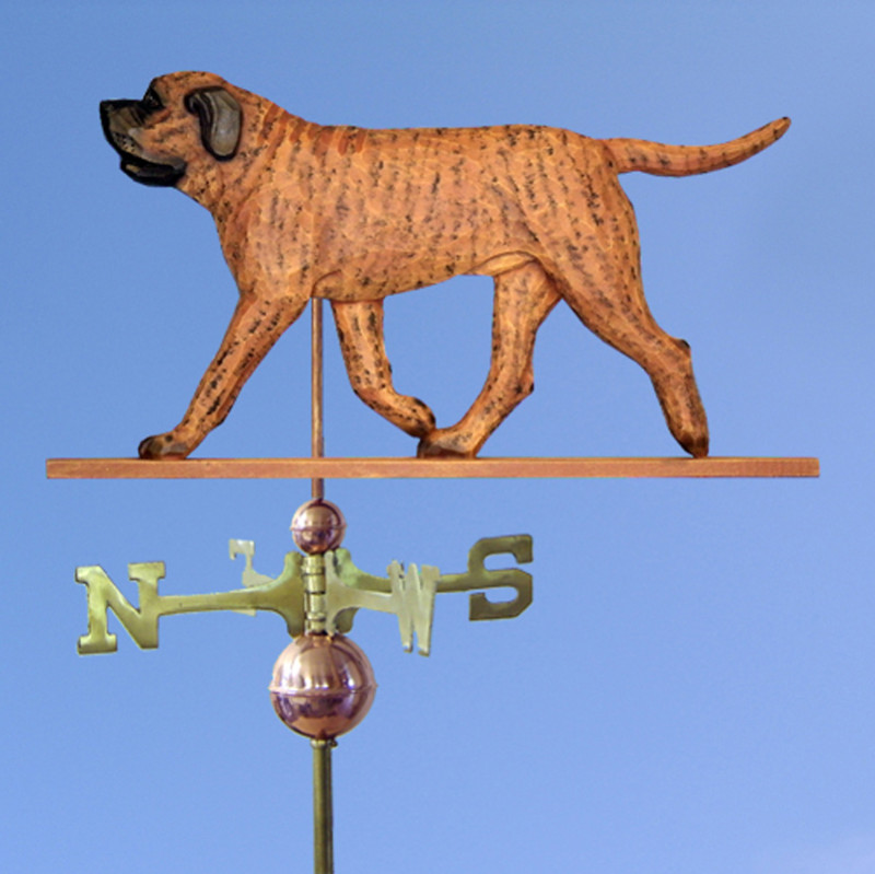 Mastiff Hand Carved Hand Painted Basswood Dog Weathervane Apricot Brindle