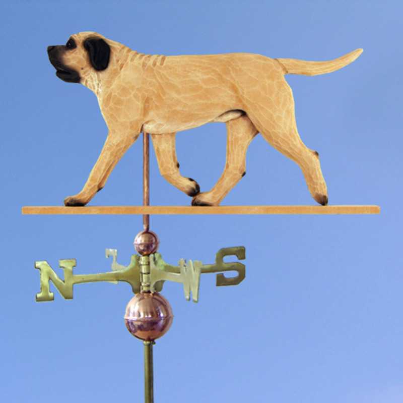Mastiff Hand Carved Hand Painted Basswood Dog Weathervane Fawn