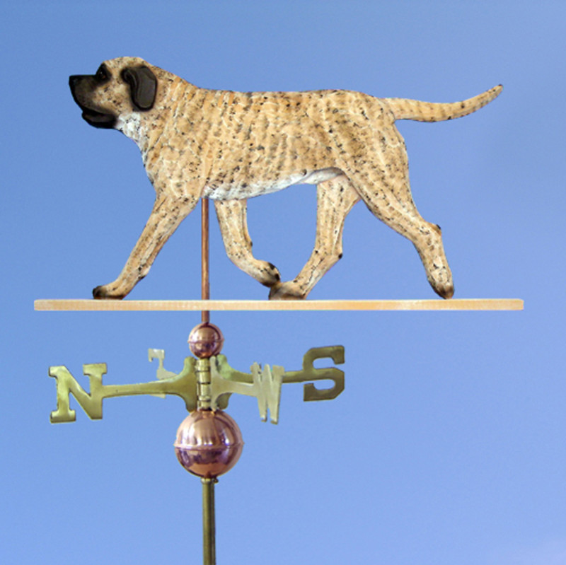 Mastiff Hand Carved Hand Painted Basswood Dog Weathervane Fawn Brindle