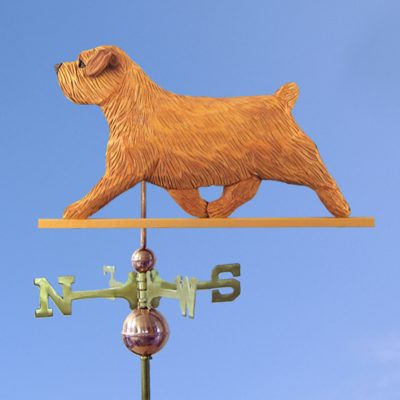 Norfolk Terrier Hand Carved Hand Painted Basswood Dog Weathervane Red 1