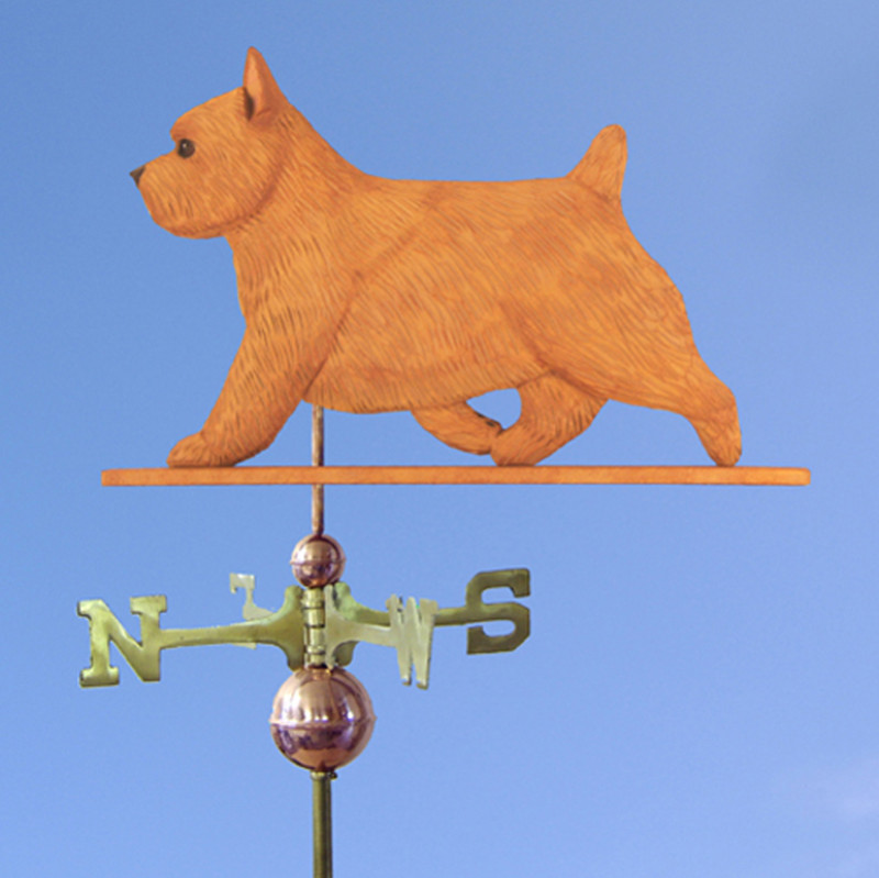 Norwich Terrier Hand Carved Hand Painted Basswood Dog Weathervane Red