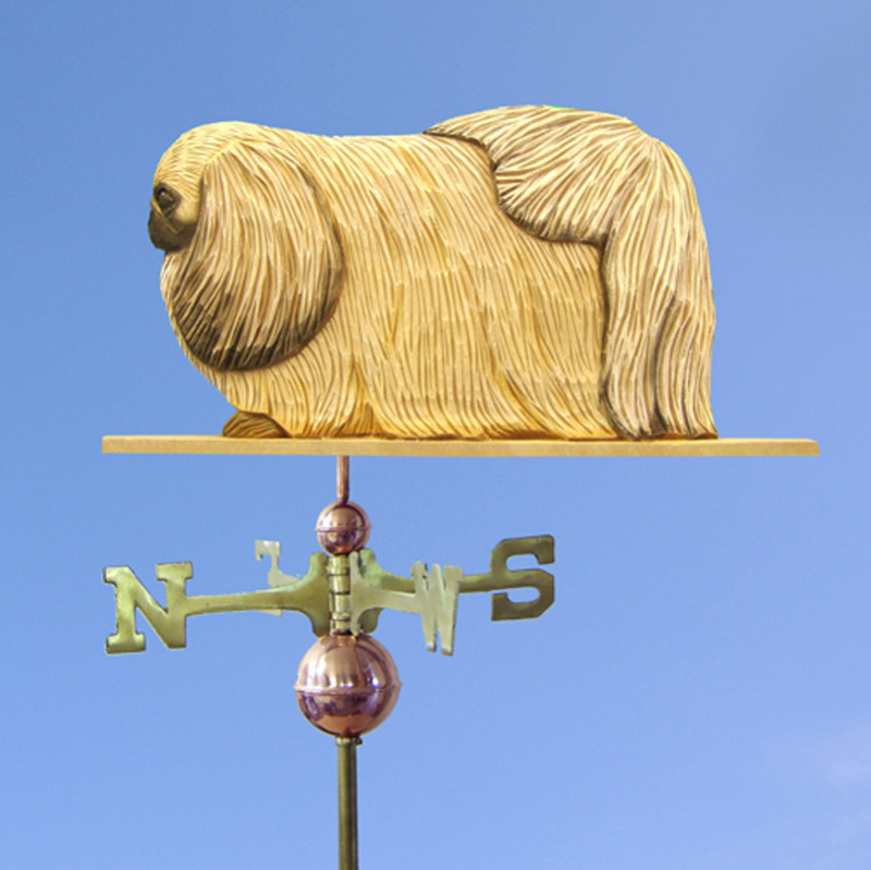 Pekingese Hand Carved Hand Painted Basswood Dog Weathervane Fawn