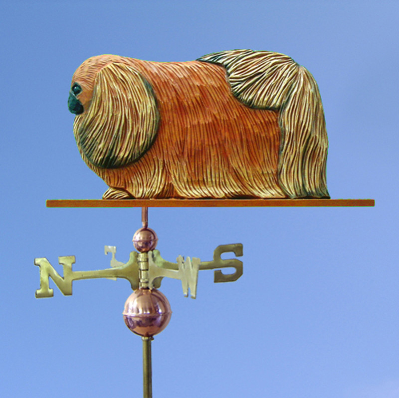 Pekingese Hand Carved Hand Painted Basswood Dog Weathervane Red