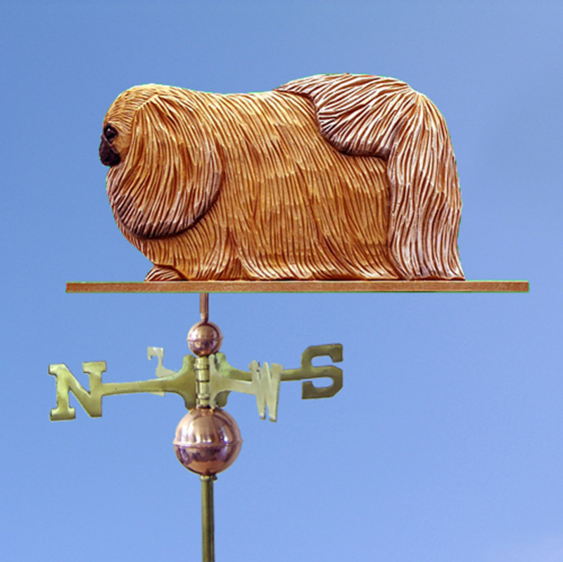 Pekingese Hand Carved Hand Painted Basswood Dog Weathervane Sable