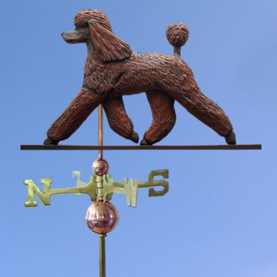 Poodle Hand Carved Hand Painted Basswood Dog Weathervane Brown 1