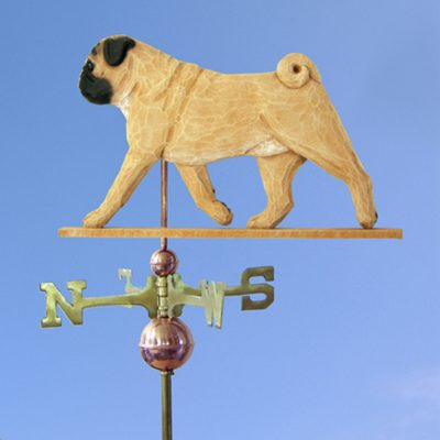 Pug Hand Carved Hand Painted Basswood Dog Weathervane Fawn