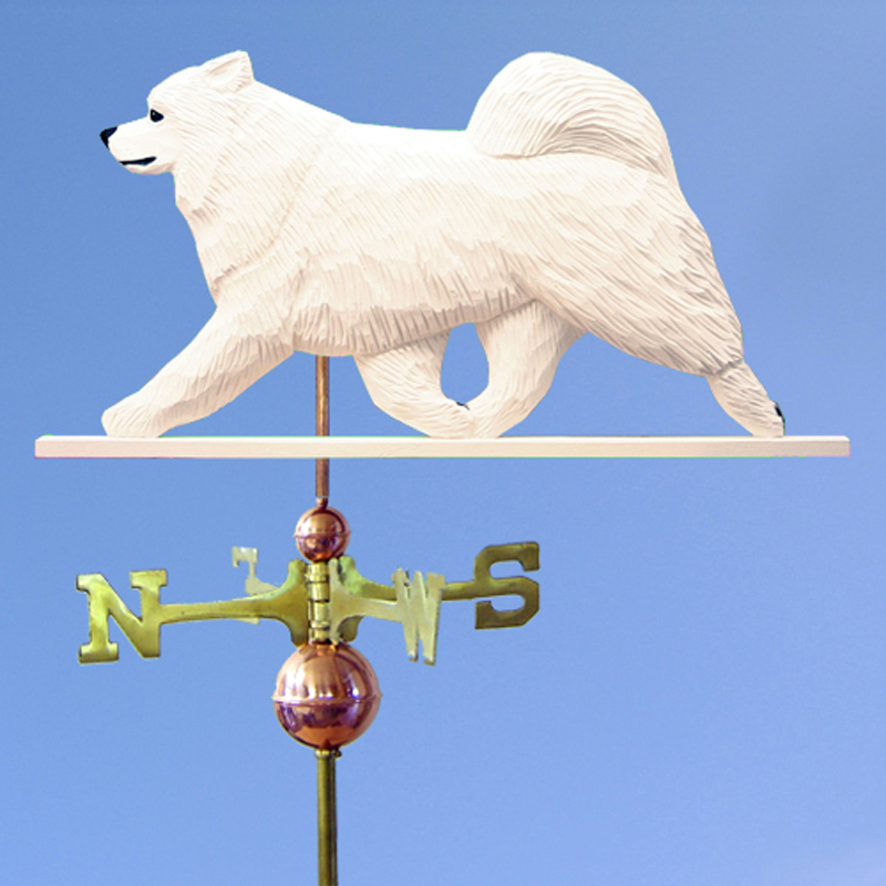 Samoyed Hand Carved Hand Painted Basswood Dog Weathervane