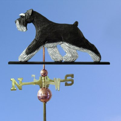 Schnauzer Uncropped Hand Carved Hand Painted Basswood Dog Weathervane Black/Silver 1
