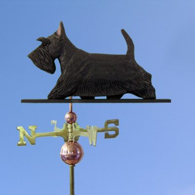 Scottish Terrier Hand Carved Hand Painted Basswood Dog Weathervane Black 1