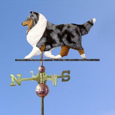 Sheltie Hand Carved Hand Painted Basswood Dog Weathervane Blue Merle 1