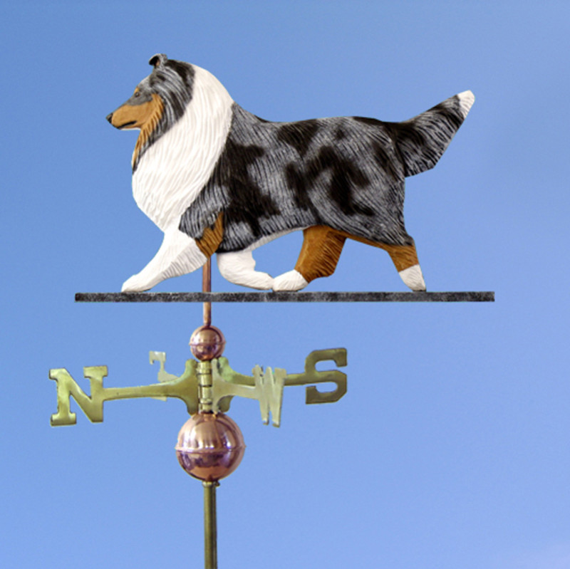 Sheltie Hand Carved Hand Painted Basswood Dog Weathervane Blue Merle