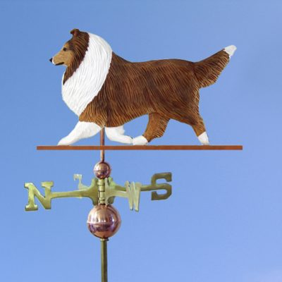 Sheltie Hand Carved Hand Painted Basswood Dog Weathervane Sable 1