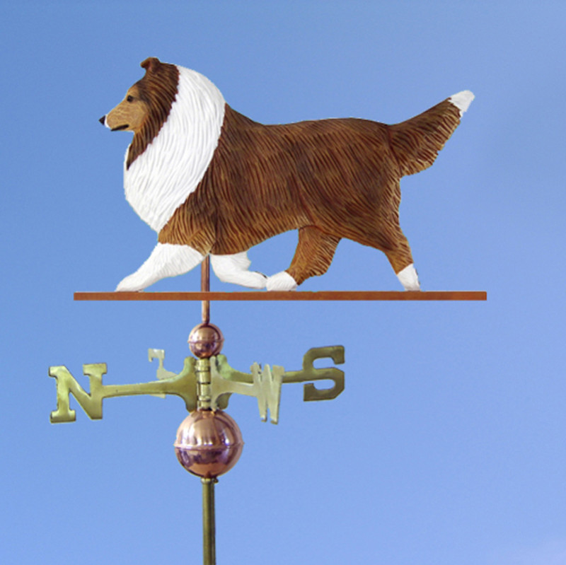 Sheltie Hand Carved Hand Painted Basswood Dog Weathervane Sable