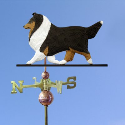 Sheltie Hand Carved Hand Painted Basswood Dog Weathervane Tri