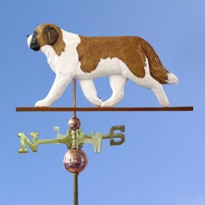 Saint Bernard Hand Carved Hand Painted Basswood Dog Weathervane 1