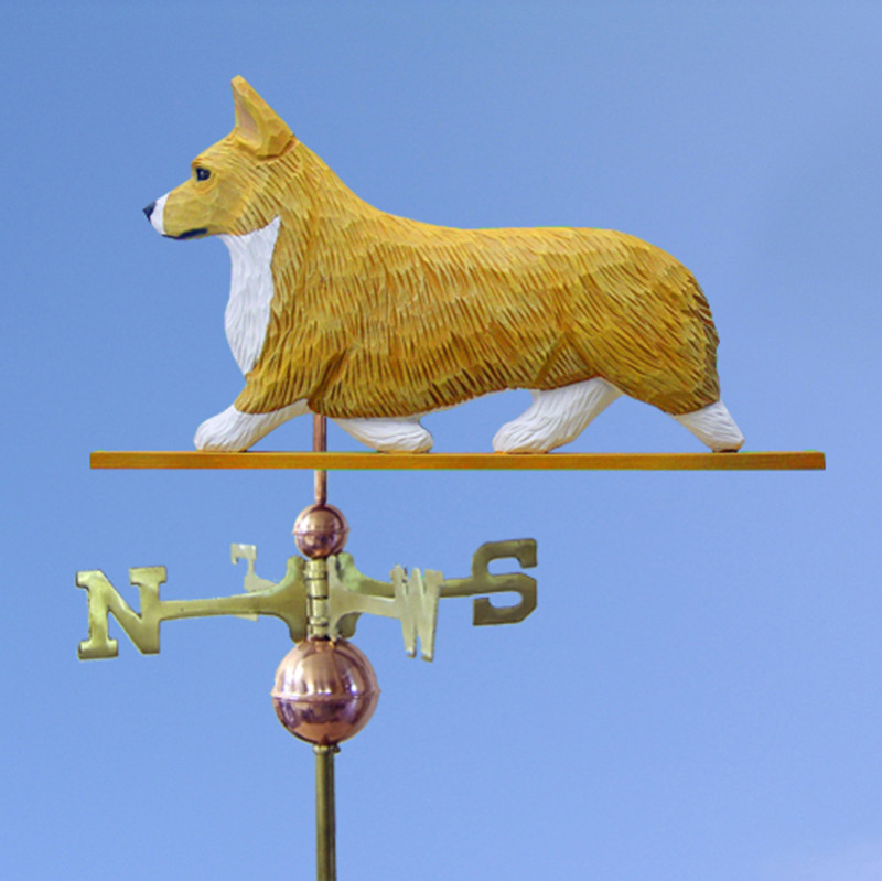 Welsh Corgi Pembroke Hand Carved Hand Painted Basswood Dog Weathervane Blonde