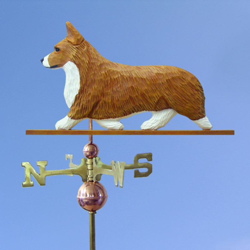 Welsh Corgi Pembroke Hand Carved Hand Painted Basswood Dog Weathervane Red